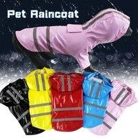 5colors reflective pu puppy pet raincoat waterproof hooded dog rain coat for dogs cats