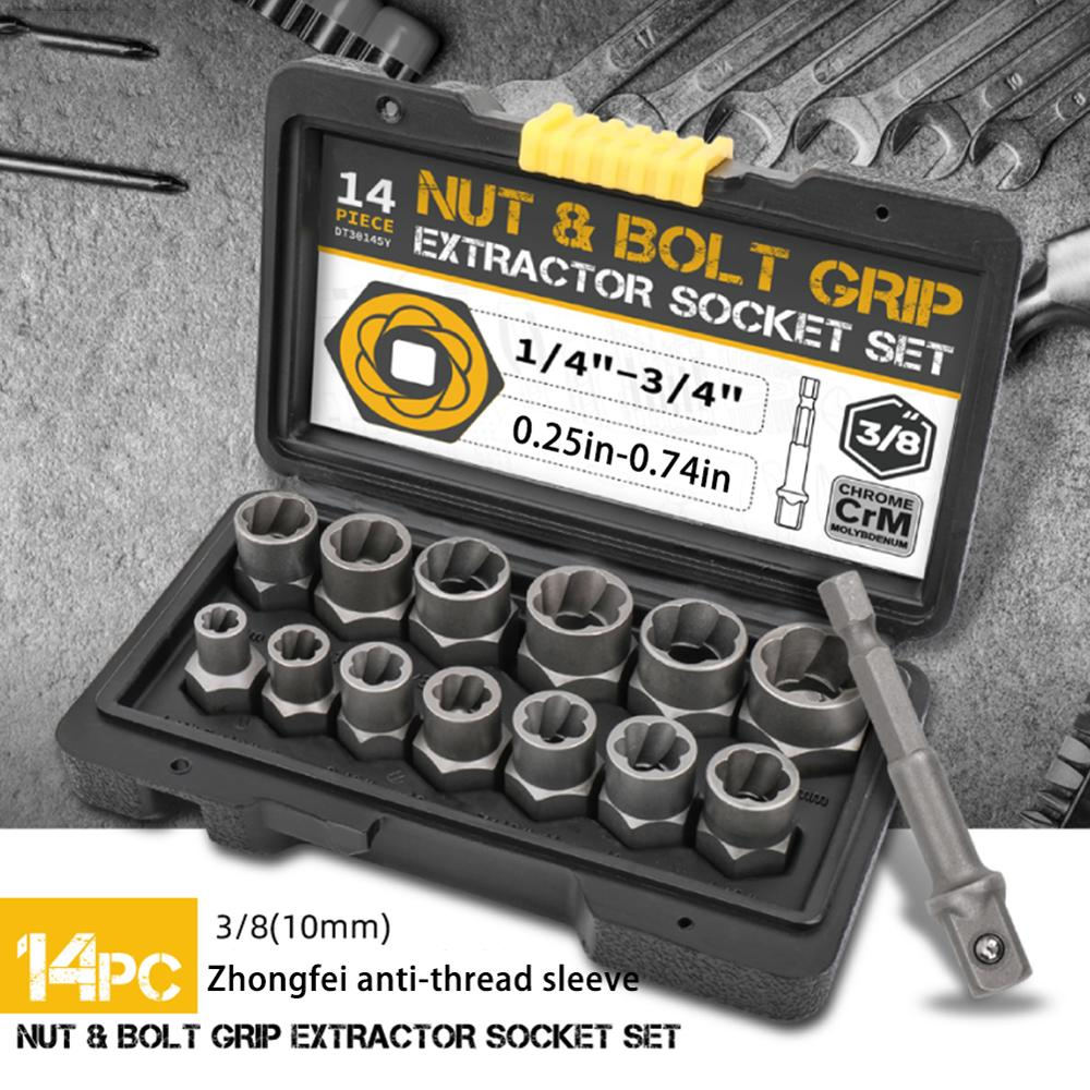 14pc Damaged Bolt Extractor Cr-Mo Steel Nut Screw Remover Threading Socket Tool Hand Tool Kit 6.35 -19m in Tool Box