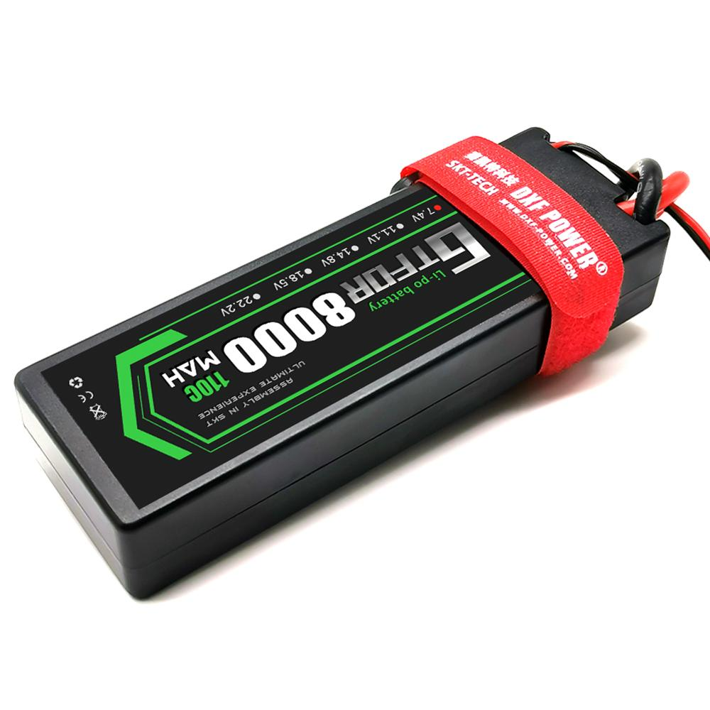 GTFDR 8000mAh Lipo Battery 7.4V 110C 2S LiPo RC Battery with Deans Plug for RC Evader BX Car Truck Truggy Buggy HardCase enlarge