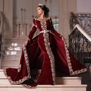 Formal Moroccan Caftan Mermiad Evening Dresses Long Sleeve Applique Beaded Dubai Prom Dress with Detachable Train robe de soiree