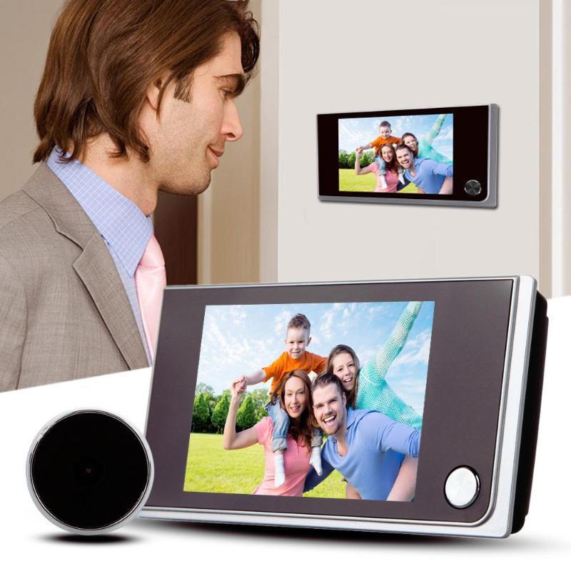 جرس باب رقمي مع شاشة LCD ملونة 3.5 بوصة ، جرس باب إلكتروني 120 درجة ، كاميرا مراقبة خارجية