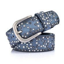 FRALU stylish womens Retro PU new cool rivet ladies waistband wide wild jeans Europe and the United