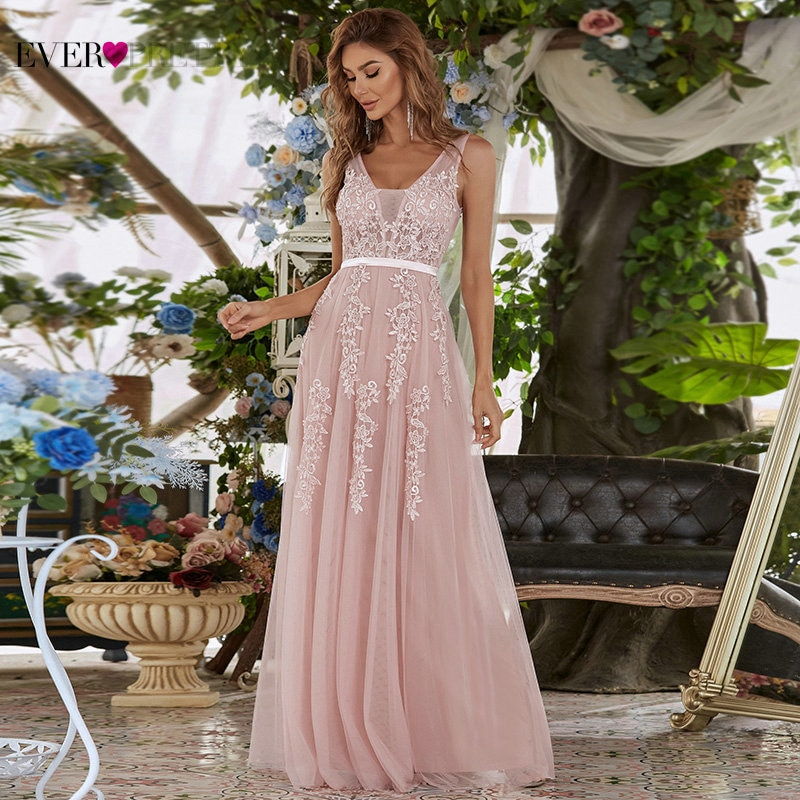 Elegant Appliques Evening Dresses Ever Pretty A-Line Double V-Neck Sleeveless Tulle Beach Style Formal Party Gown Robe De Soiree