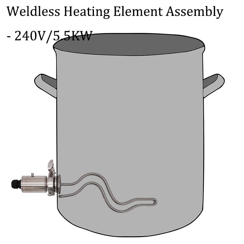 Homebrew BK & HLT-عنصر تسخين غير ملحوم 1.5 بوصة TC ، عنصر تسخين مموج بحاجز ، 240 فولت ، 5 كيلو وات ، 304 SS