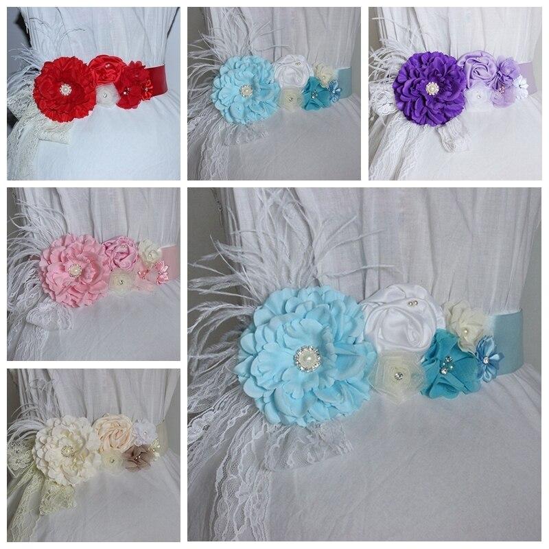 7 Colors Fashion Handmade Peony Flower Sash with Pearl Rhinestone Women Satin Floral Waistband Bride