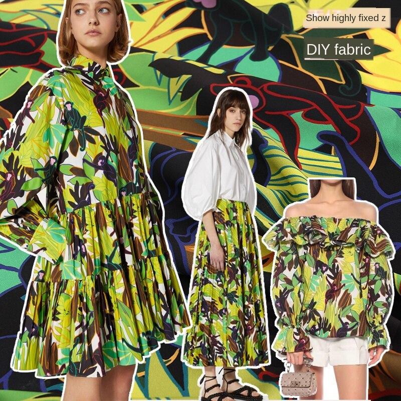 New Monkey Green Leaf Digital Printing Crepe -De-Chine Handmade DIY Clothing Fabric For Dress