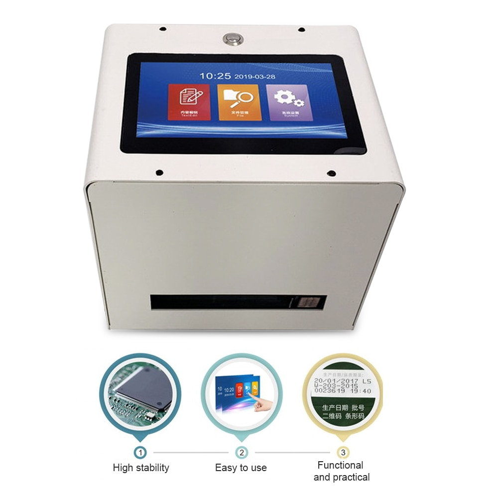 Static Intelligent Automatic Inkjet Printer 7 Color Touch Screen 600DPI USB QR Code Label