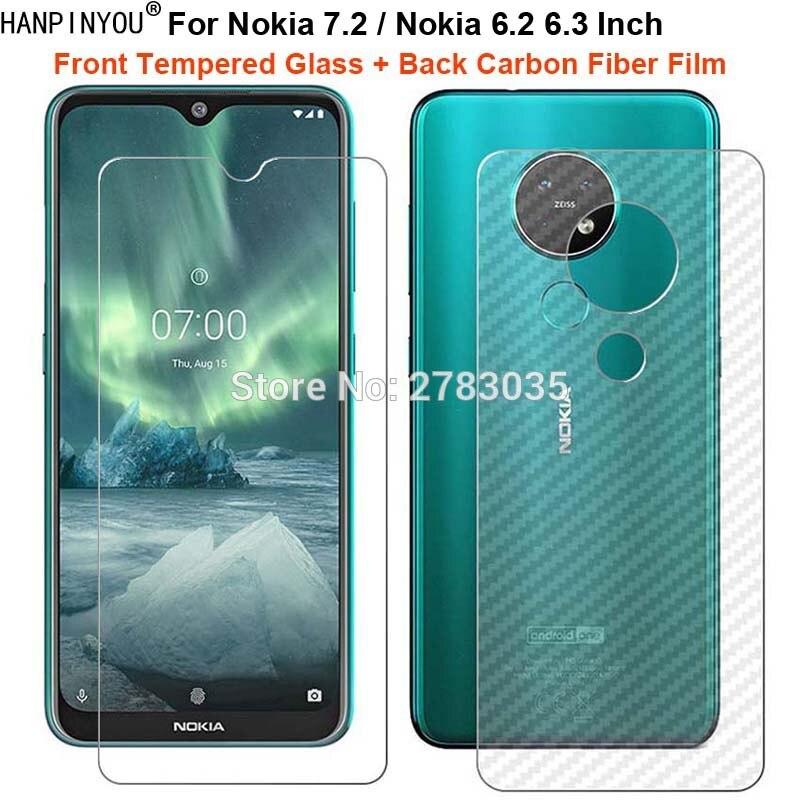 "Para Nokia 7,2/6,2 6,3 ""1 Set = película de fibra de carbono trasera suave + Protector de pantalla frontal de vidrio templado Premium Ultra fino"