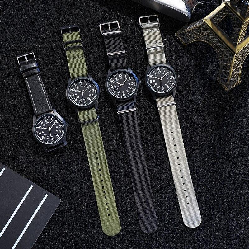 Air Force Men Pilot Watch Nylon Strap Sport Outdoor Clock 24H Display Quartz Wristwatch Relogio Masc