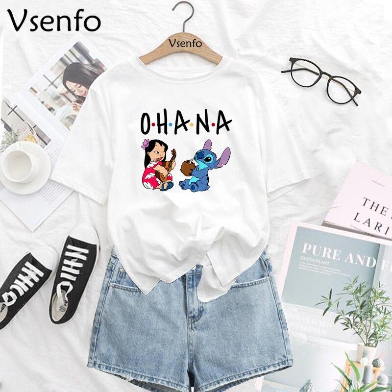 Lilo Stitch, camiseta de dibujos animados para mujer, divertida camiseta gráfica Kawaii, moda para chicas, ropa de calle, camiseta de verano Harajuku Vintage