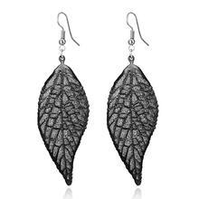 Pendientes de gota de hojas de árbol redondo de metal bohemio de marca gris grande a la moda para mujer joyería colgante de color plateado pendiente de gota