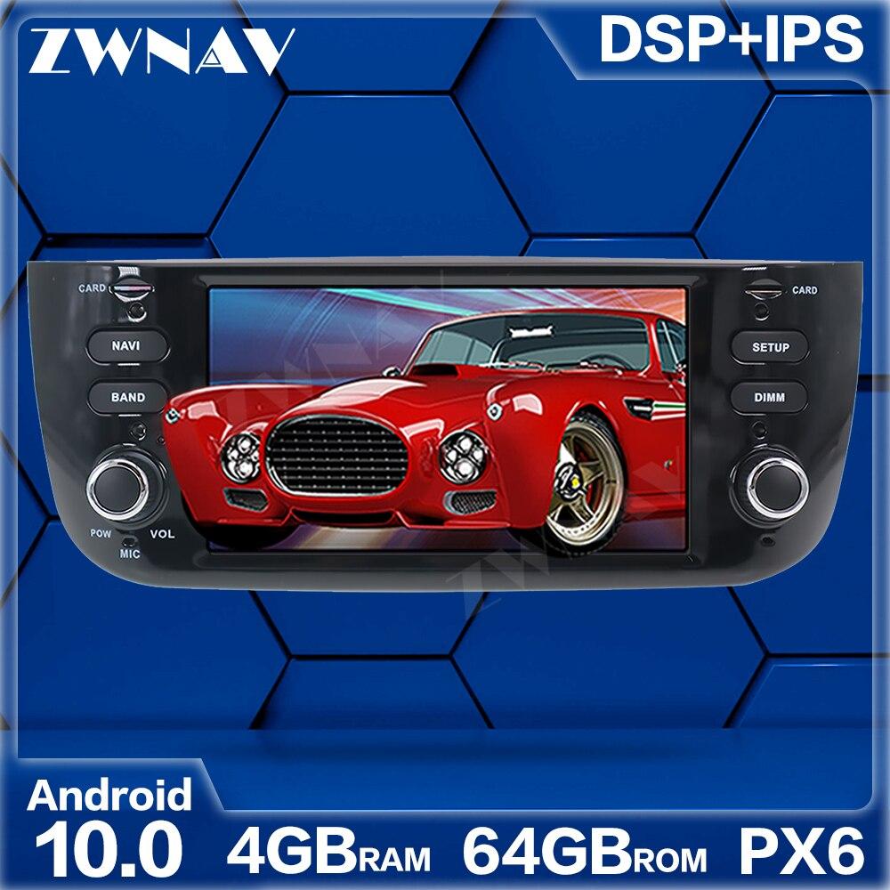 Reproductor Multimedia para coche PX6 4 + 64G Android 10,0 para Fiat Punto 2009 2010-2015 GPS para coche Navi Radio navi, unidad principal de pantalla táctil ESTÉREO