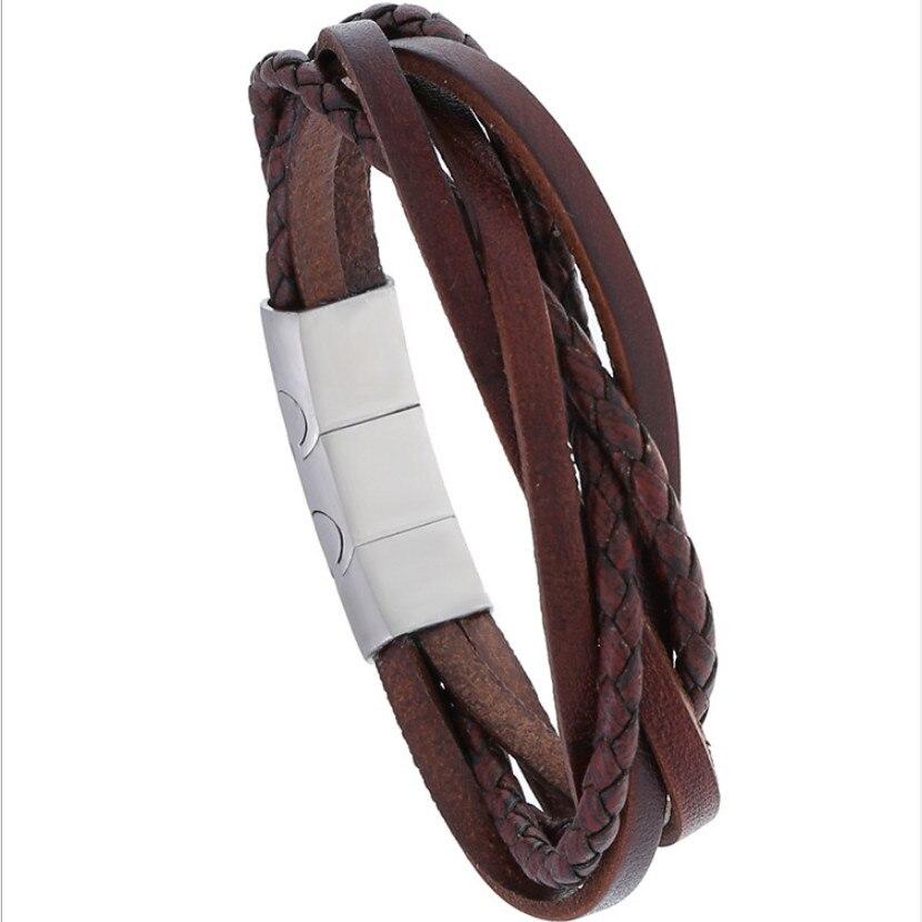 Pulseras casuales de moda para hombre, pulsera marrón de acero inoxidable, cierre magnético ajustable, pulsera de cuero Vintage para mujer, joyería Punk