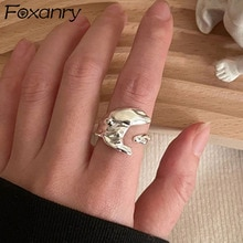 Foxanry 925 Sterling Silver Rings for Women Trend Vintage Charm Unique Creative Irregular Moon Gloss