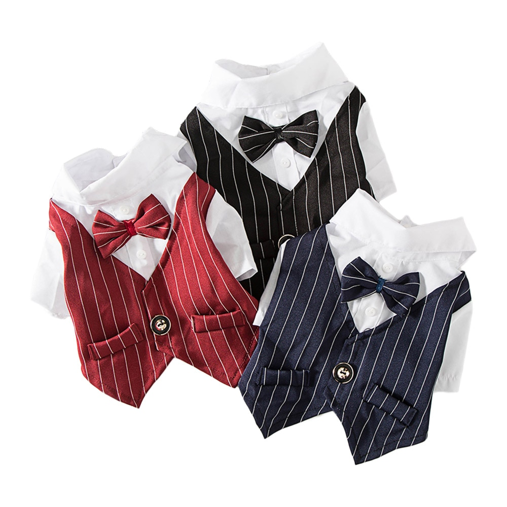 nacoco dog suit pet gents costume formal dress clothes with bow tie halloween gentleman costumes for puppy and cat Gentleman Dog Clothes Wedding Suit Formal Shirt For Small Dogs Bowtie Tuxedo Pet Outfit Halloween Christmas Costume For Cats