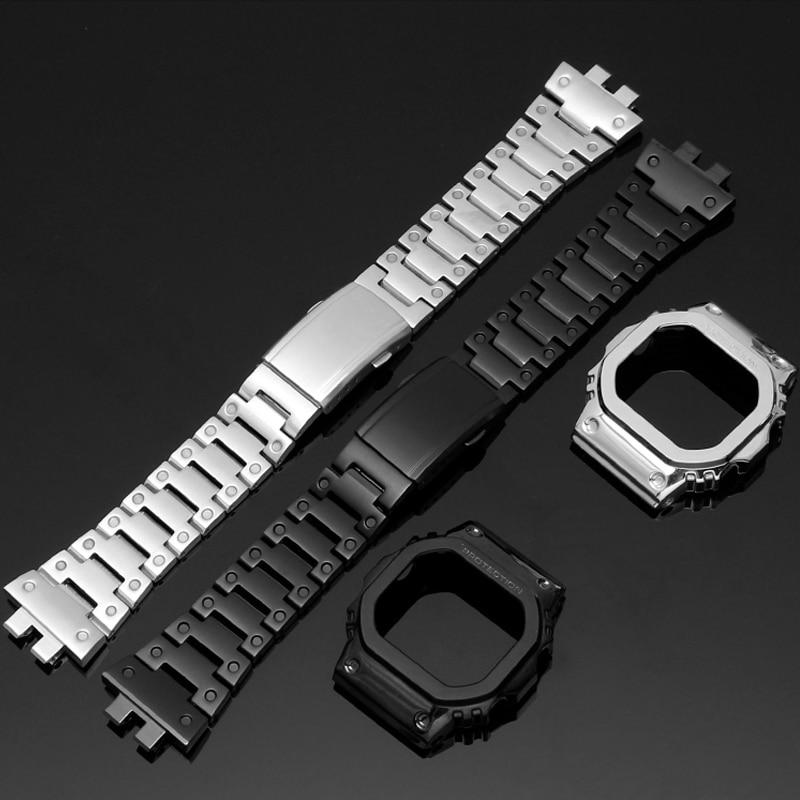 316L الفولاذ المقاوم للصدأ الحافة ل كاسيو g-shock GMW-B5000 حزام مربط الساعة GMW-B5000GD-9A GMW-B5000D-1ADR ووتش الفرقة حالة الوفير
