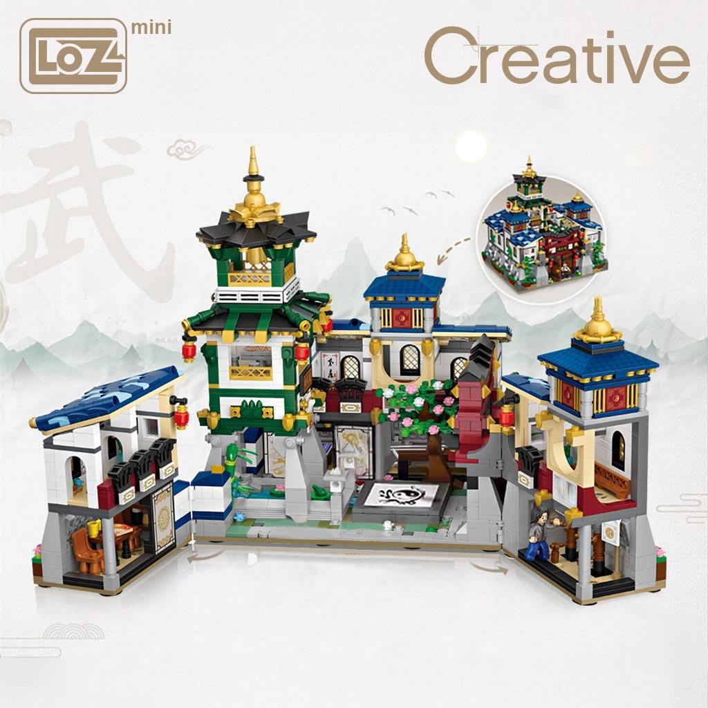 LOZ-صندوق أحزمة صغير قابل للطي ، كتلة صغيرة ، منزل مع تصميم هندسي على الطراز الصيني لمتحف الكونغ فو Jingwu ، ألعاب تجميع افعلها بنفسك