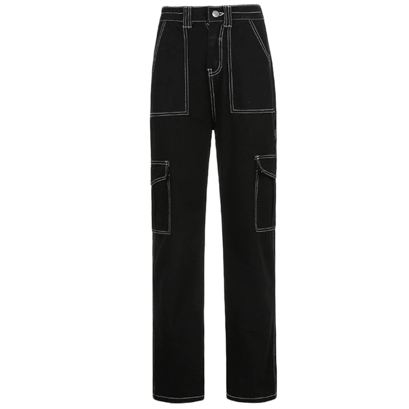 Womens High Waist Wide Leg Baggy Jeans Side Pocket Straight Leg Denim Cargo Pants Relaxed Fit Contrast Stitched Stripe M7DD