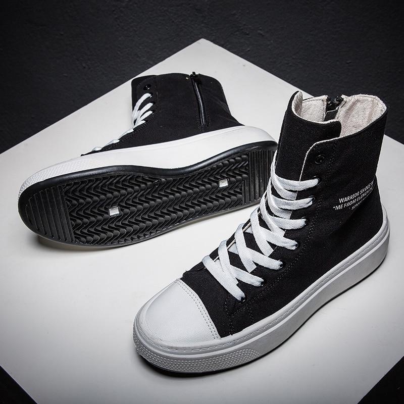 Zapatillas de deporte de Otoño Invierno para hombre, zapatos de lona de alta calidad para hombre, calzado de marca informal para hombre, zapatillas de lona de alta calidad negras para hombre