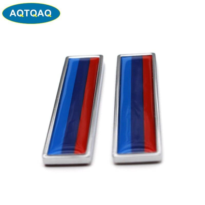 1 par 3D de Metal para BMW bandera Tricolor etiqueta engomada del coche decorar pegatinas emblema insignia para coches