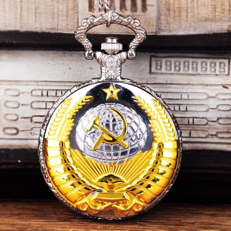 1050Retro Fashion Soviet Union Soviet Badge Pocket Watch Retro Globe Open Cover Pocket Watch Necklace Man Woman