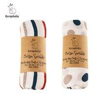 Kangobaby-juegos de cama de muselina para fotografía de bebé recién nacido, envoltura de pañales, 100% algodón, patrón de arcoíris, 120x120cm, 2 unids/lote