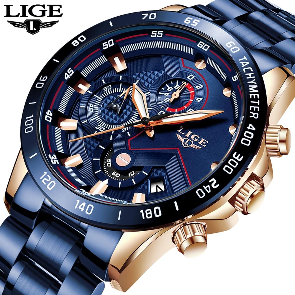 New LIGE Mens Watches Fashion Blue Chronograph Sport Quartz Watch Men Luxury Stainless Steel Waterproof Military WristWatch 2019