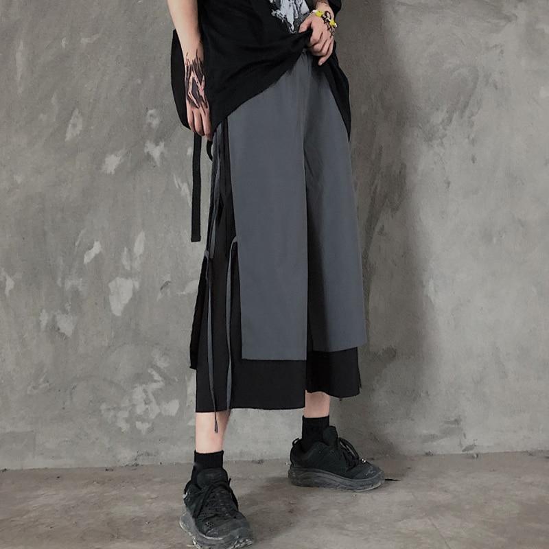 Dark of Capri Pants Loose Wide Leg Pants Stitching Contrast Colors False-Two-Piece Casual Pants Men