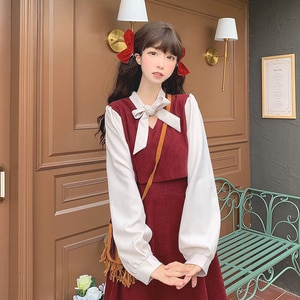 Japanese College Style Sweet Bow Mid-Length Long Sleeve Dress for Women Autumn and Winter 2020 New sweet lolita dress