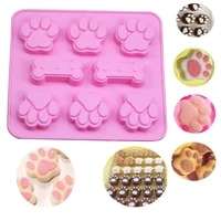 silicone cake mold cute dog cat paw bone shape chocolate candy cookie baking kitchen handmade 3d diy art cakes moulds tool