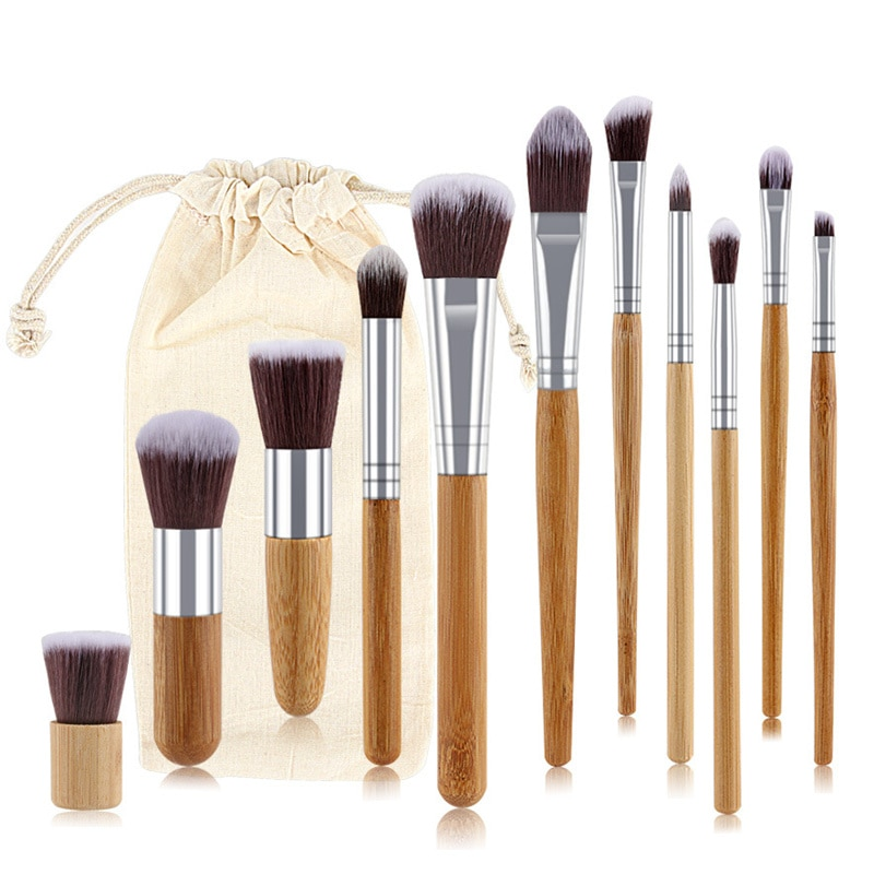 Ronshadow 11Pcs Natural Bamboo Makeup Brushes Exquisite Cloth Bag Eye Shadow Foundation Powder Eyeliner Beauty Brush Set Tool