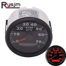 85mm tacômetro para barco a motor 7000 rpm redondo medidor de hora digital motocicleta tacho rpm calibre rev contagem luz traseira vermelha 12 v 24 v