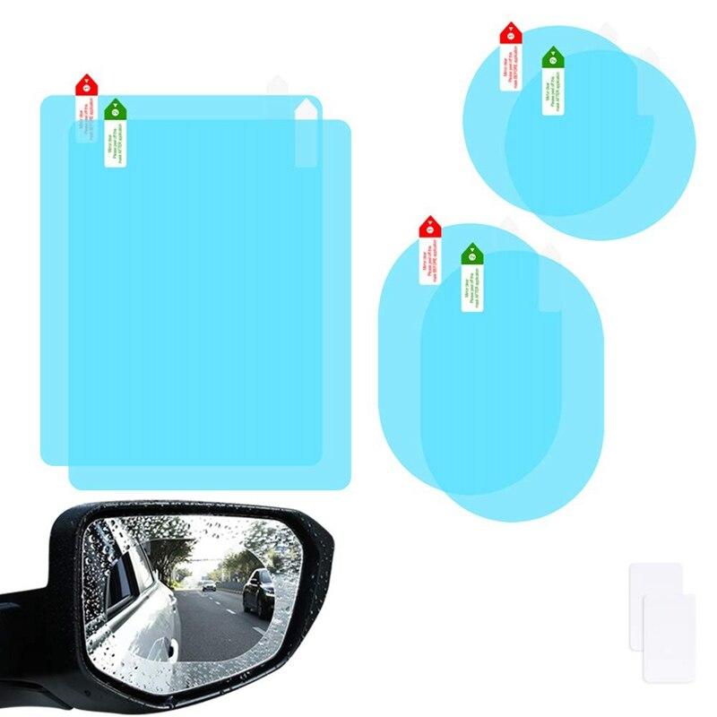 2pcs Car Rain Film Rearview Mirror Protective Film Anti Fog Membrane Anti-glare Waterproof Rainproof Car Mirror Window Clear