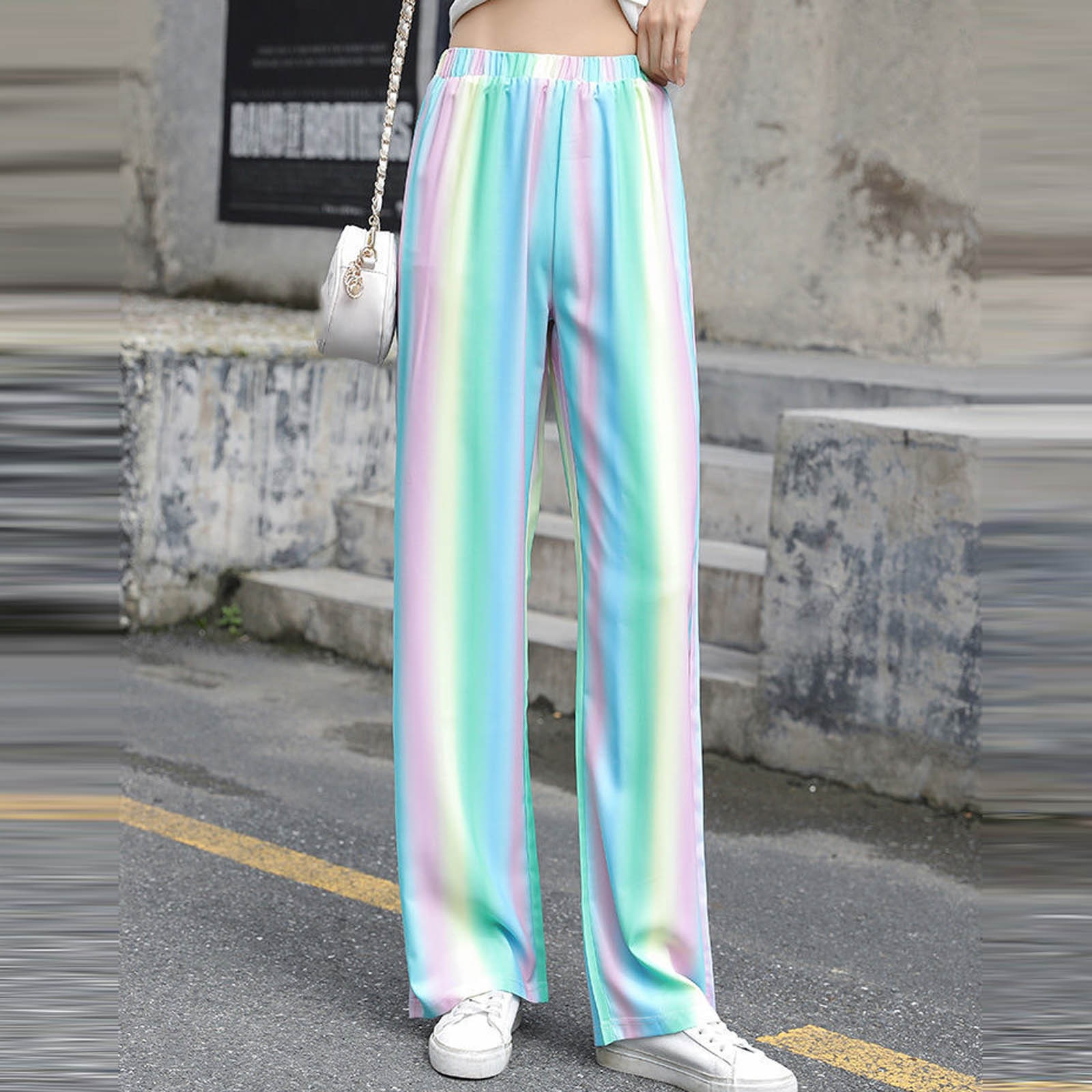 Fashion Women Printed Loose High Waist Ladies Wide Leg Pants Color Stripe Printing Pants Trousers Loose Straight-leg Pant R5