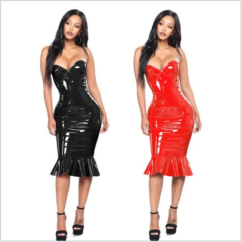 Sexy PVC Wet Look Leather Dresses Women Red Black Zipper Black Club Wear Bandage Plus Size Tube Dress Mermaid 5XL 6XL