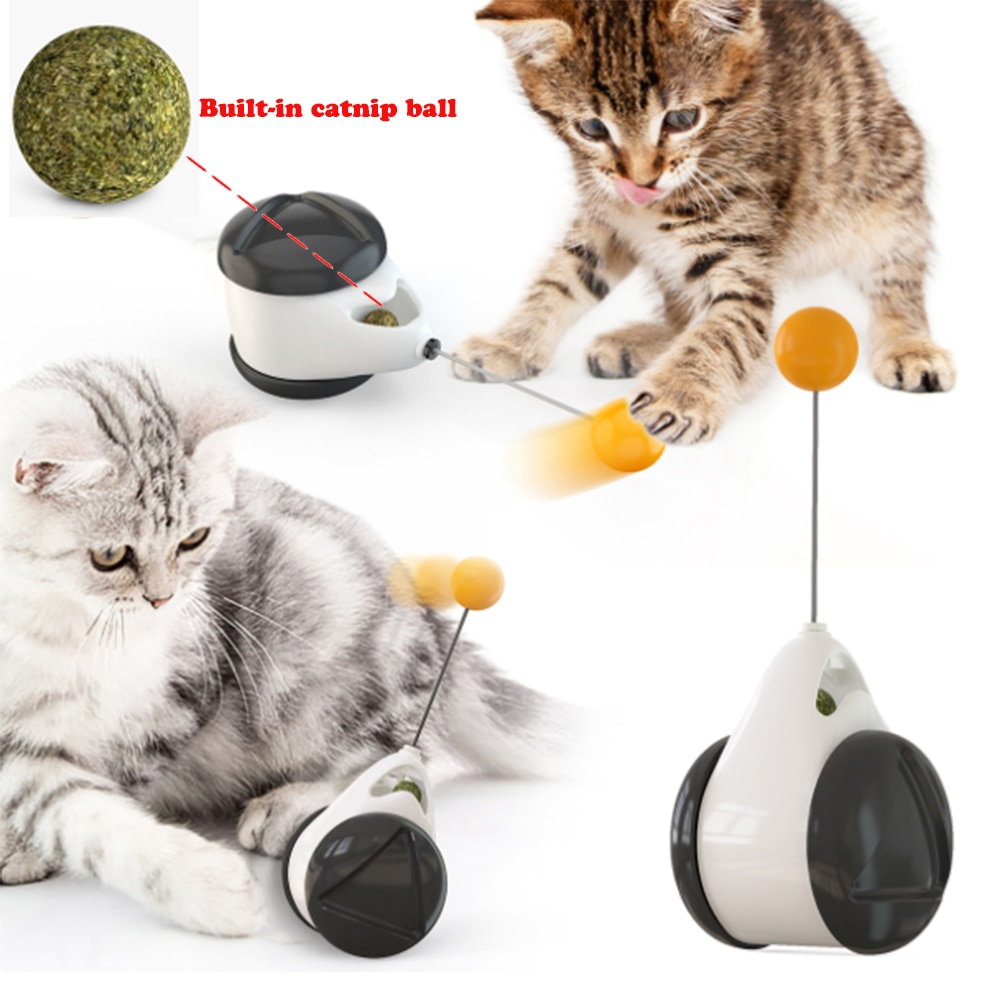 Interactive Cat Toy Rotation Mode with Wheels Cat Toy Balance Swing Car Cat Supplies Funny Cat Artifact Without Battery