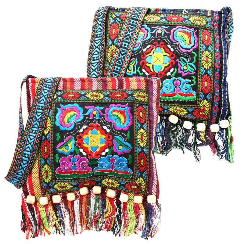 Винтажная Ретро сумка-тоут с вышивкой в стиле бохо, сумка на плечо в этническом стиле, сумка-тоут с кисточками, сумка-мессенджер хиппи через плечо