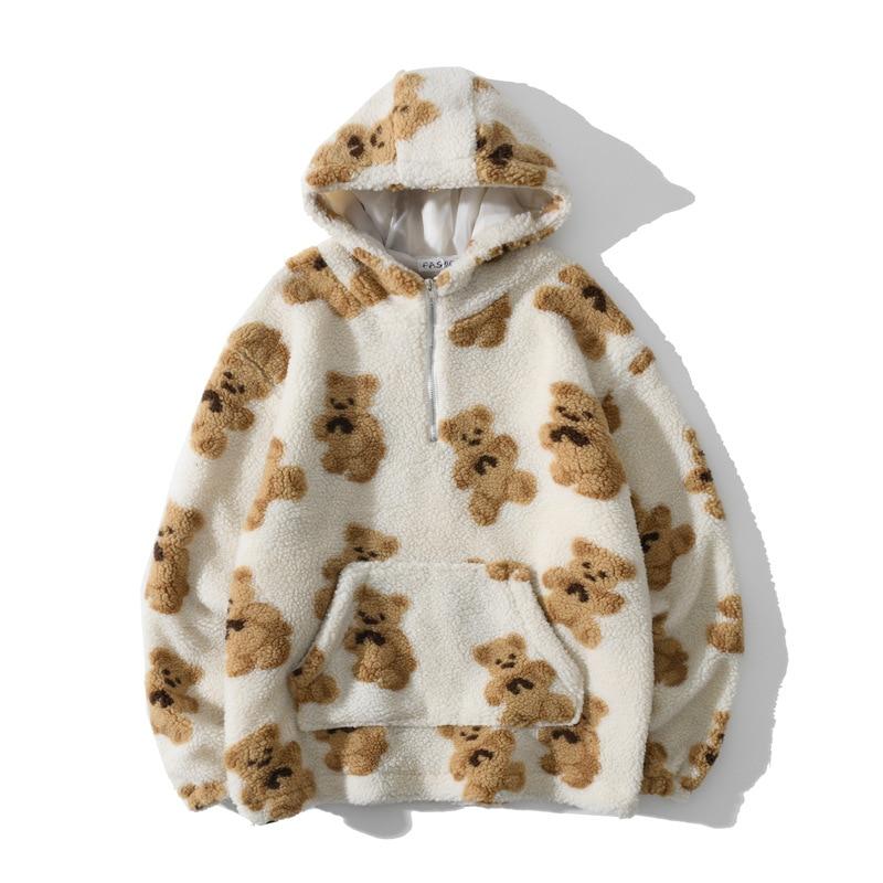 Sudaderas Fashion Men's Lamb Wool Thicken Hoodies 2020 Autumn Winter Vintage Bear Print Hooded Pullover Couple Zip UP  3