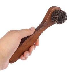 Punho de madeira longa cerda cavalo escova de cabelo sapato polonês brilho suprimentos de limpeza
