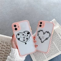 simple lines love heart phone case for iphone 12 11 mini pro xr xs max 7 8 plus x matte transparent pink back cover