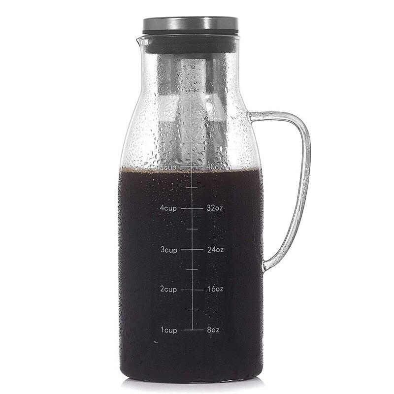 صانع القهوة المشروب البارد ، إبريق الشاي المثلج إينفوسير مع غطاء ومقياس ، إبريق قهوة مرشح الاستخدام المزدوج ، 51Oz/1.5L