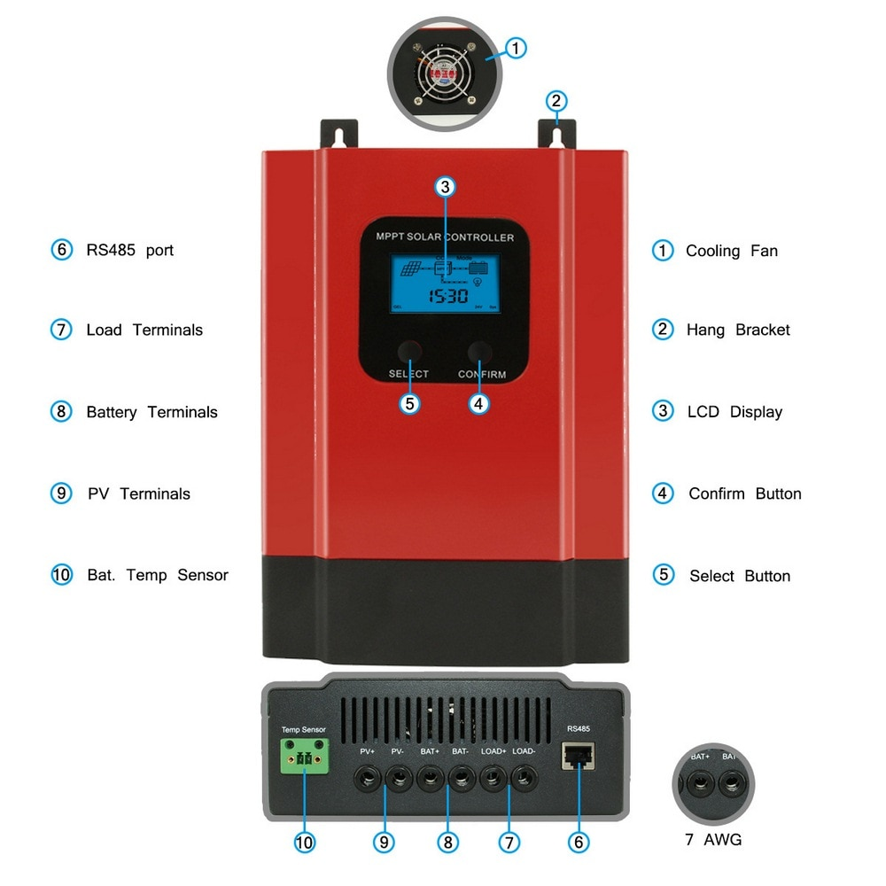 40A 60A ESmart3 controlador de carga Solar 48V 36V 24V 12V Auto LCD con retroiluminación Max 150VDC de entrada puerto RS485 de ahorro de energía