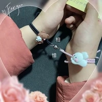 mutual attraction induction bracelet female cuddle bear couple small rubber band give boyfriend friend long distance lover gift