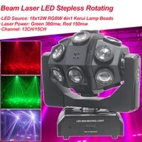 beam laser 18x12w rgbw led stepless rotating angle moving head light dj disco bar ballroom party hotels stage night lights