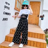 sets of girls 2021 summer new casual wide leg pants short sleeved suit girls casual printing of sets 11 12 years childrens sets