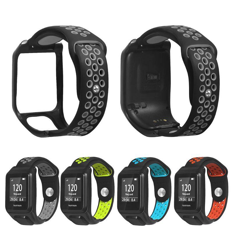 Correa de reloj transpirable correa de silicona de repuesto para Tomtom Runner 3/Adventurer/golfista 2/Runner 2 Cardio Music Watch