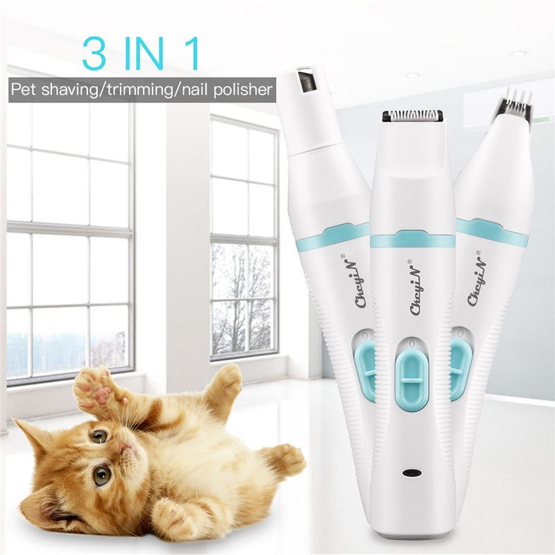 3 IN 1 Pet Grooming Machine Dog Cat Hair Trimmer USB Rechargeable Pets Clippers Cutter Nail Grinding Foot Hair Remover Low Noise enlarge