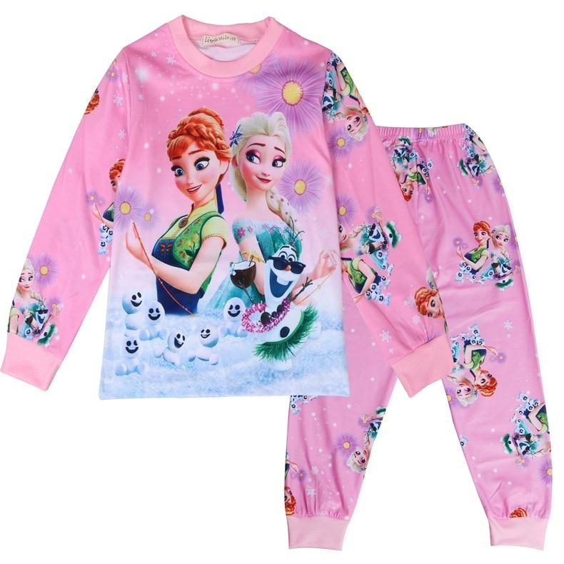 Новые подарочные пижамы, пижама для девочек, одежда для малышей, комплект детской одежды, детские пижамы, милый костюм принцессы Эльзы и Анны для девочек, Снежная королева