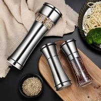salt pepper grain mill shakers stainless steel food spice grinder portable outdoor spices jar bottles condiment kitchen tool
