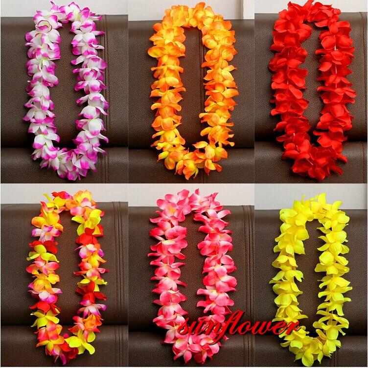 Гавайские Искусственные цветы leis гирлянда ожерелье Цветы DIY Необычные платья Аксессуары Гавайские пляжные украшения для вечеринки